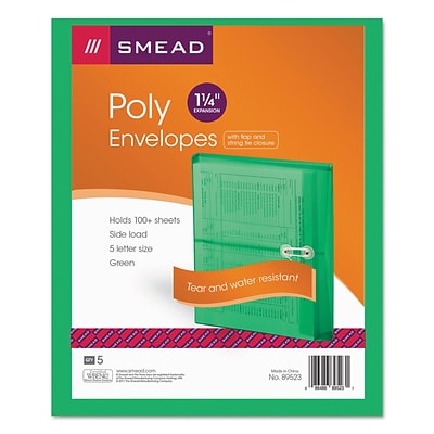 Smead® Poly String & Button Interoffice Envelopes, Transparent Green, 5/Pack (89523)