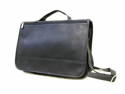 Le Donne Leather Expandable Messenger; Black
