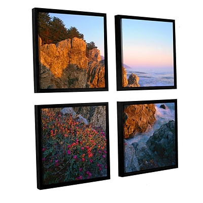 ArtWall Big Sur Sunset 4-Piece Canvas Square Set 48 x 48 Floater Framed (0uhl104e4848f)
