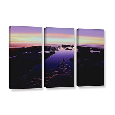 ArtWall Low Tide Afterglow 3-Piece Gallery-Wrapped Canvas Set 36 x 54 (0uhl113c3654w)