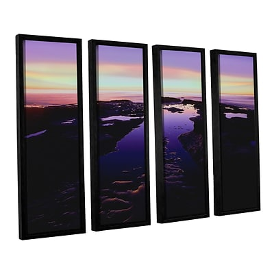 ArtWall Low Tide Afterglow 4-Piece Canvas Set 36 x 48 Floater-Framed (0uhl113d3648f)