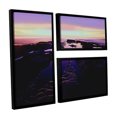 ArtWall Low Tide Afterglow 3-Piece Canvas Flag Set 36 x 48 Floater-Framed (0uhl113g3648f)