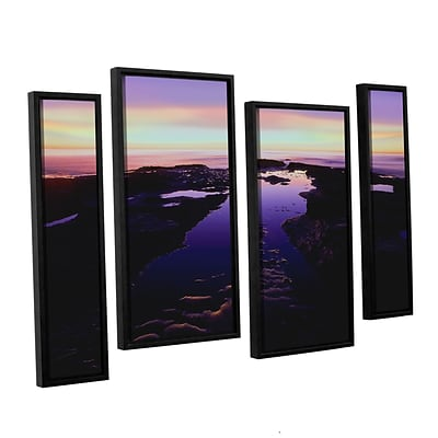 ArtWall Low Tide Afterglow 4-Piece Canvas Staggered Set 36 x 54 Floater Framed (0uhl113i3654f)