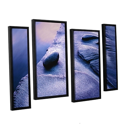 ArtWall Rock Sand And Stream 4-Piece Canvas Staggered Set 36 x 54 Floater-Framed (0uhl119i3654f)