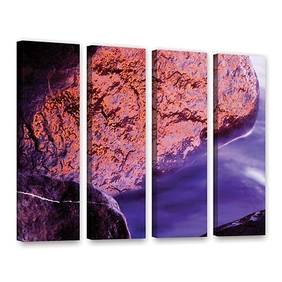 ArtWall Rock Surf And Sunset 4-Piece Gallery-Wrapped Canvas Set 36 x 48 (0uhl120d3648w)
