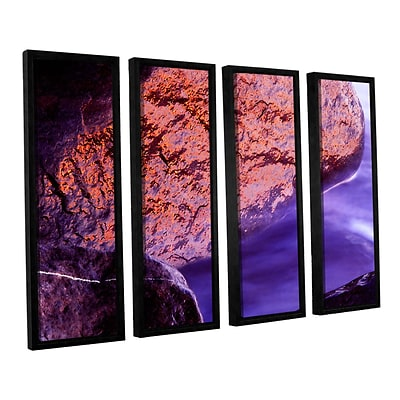 ArtWall Rock Surf And Sunset 4-Piece Canvas Set 24 x 32 Floater-Framed (0uhl120d2432f)