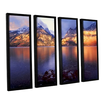 ArtWall Jenny Lake Sunrise 4-Piece Canvas Set 24 x 32 Floater-Framed (0uhl136d2432f)
