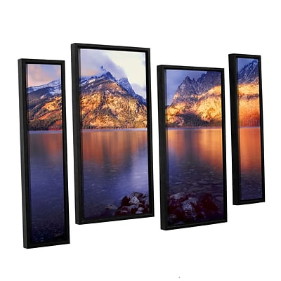 ArtWall Jenny Lake Sunrise 4-Piece Canvas Staggered Set 36 x 54 Floater-Framed (0uhl136i3654f)