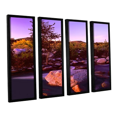 ArtWall Deer Creek Evening 4-Piece Canvas Set 24 x 32 Floater Framed (0uhl157d2432f)