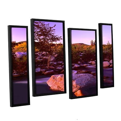 ArtWall Deer Creek Evening 4-Piece Canvas Staggered Set 36 x 54 Floater Framed (0uhl157i3654f)