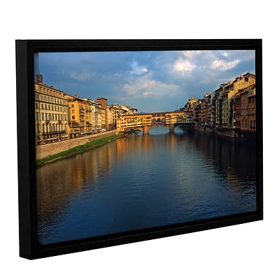 ArtWall Ponte Vecchio Sunset Gallery-Wrapped Canvas 24 x 36 Floater-Framed (0yat075a2436f)