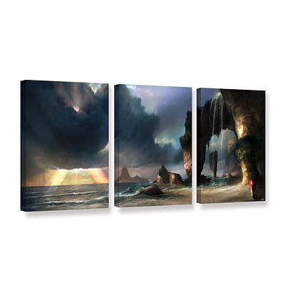 ArtWall The Beach 3-Piece Gallery-Wrapped Canvas Set 24 x 48 (0goa021c2448w)