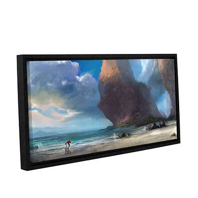 ArtWall Walk On The Beach Gallery-Wrapped 18 x 36 Floater-Framed Canvas (0goa031a1836f)