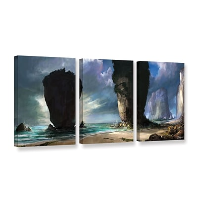 ArtWall Beach Front 3-Piece Gallery-Wrapped Canvas Set 24 x 48 (0goa038c2448w)