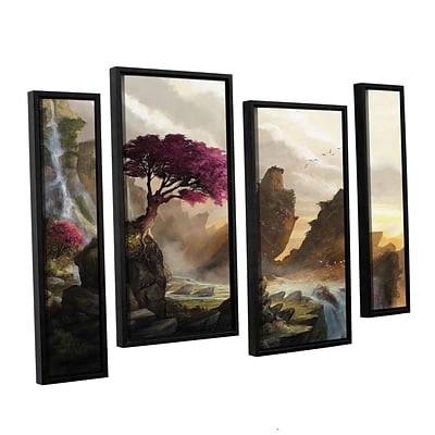 ArtWall Blossom Sunset 4-Piece Floater Framed Canvas Staggered Set 24 x 36 (0goa042i2436f)