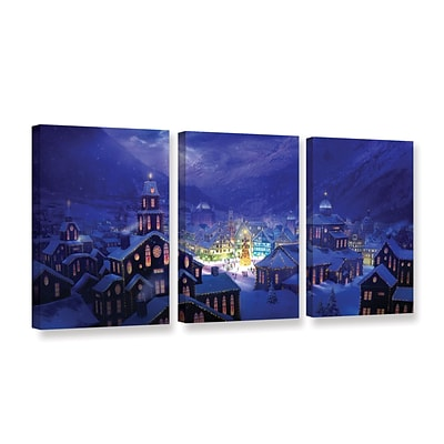 ArtWall Christmas Town 3-Piece Gallery-Wrapped Canvas Set 18 x 36 (0str004c1836w)