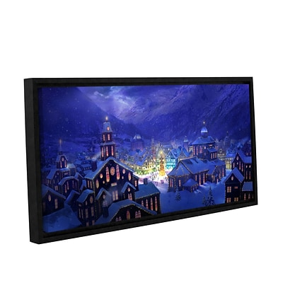 ArtWall Christmas Town Gallery-Wrapped Canvas 24 x 48 Floater-Framed (0str004a2448f)