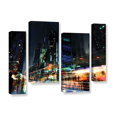 ArtWall Night City 3 4-Piece Gallery-Wrapped Canvas Staggered Set 24 x 36 (0str013i2436w)