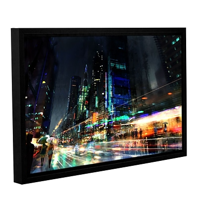ArtWall Night City 3 Gallery-Wrapped Canvas 12 x 18 Floater-Framed (0str013a1218f)