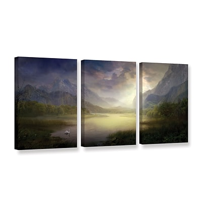 ArtWall Silent Morning 3-Piece Gallery-Wrapped Canvas Set 24 x 48 (0str015c2448w)