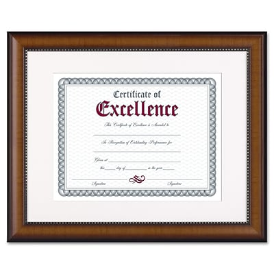 Dax Prestige Document Wood Frame, Matted with Certificate, Walnut with Black Trim, 11 x 14 (N3028S1T)