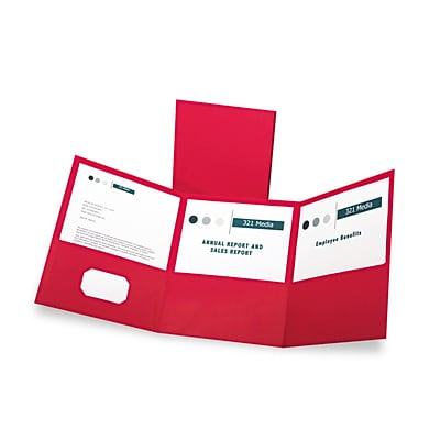 Oxford Tri-Fold Folder w/3 Pockets, Holds 150 Letter-Size Sheets, Red, 20/BX
