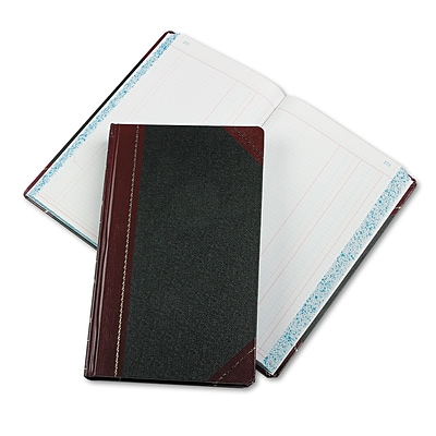 Boorum & Pease Record/Account Book, Journal Rule, Black/Red, 500 Pages, 14 1/8 x 8 5/8