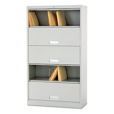 HON® Brigade™ 600 Series Legal-Size Lateral Files w/Receding Doors, 5-Shelf, Light Grey