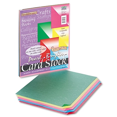 Pacon® Reminiscence Card Stock Paper, 65 Lbs. Assorted Bright Colors, 8 1/2H x 11W, 50 Sheets/Pk (09131)
