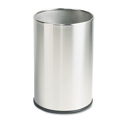 United Receptacle® Fire Safe Satin Stainless Steel Receptacles, Wastebasket, 5 Gallon