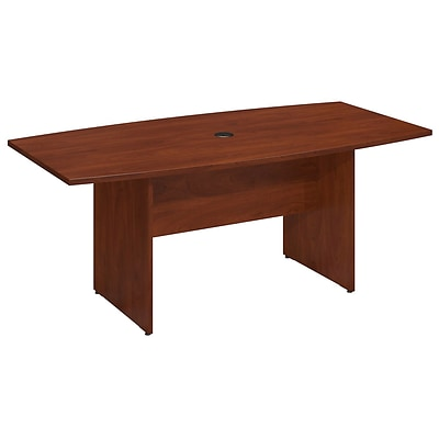 Bush Business 72L x 36W Boat Top Conference Table with Wood Base, Hansen Cherry
