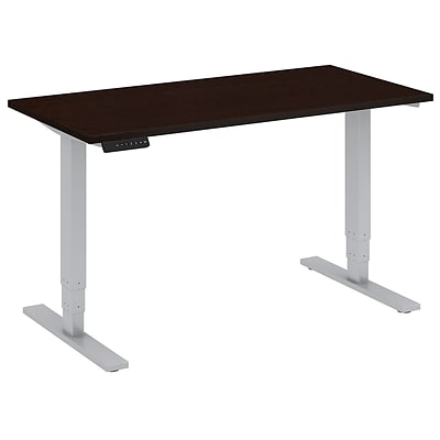 Bush Business 48W x 24D Height Adjustable Standing Desk, Mocha Cherry w/ Cool Grey Metallic Base