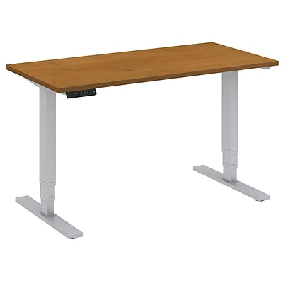 Bush Business 48W x 24D Hgt Adj. Standing Desk, Natural Cherry w/ Cool Grey Metallic Base, Installed