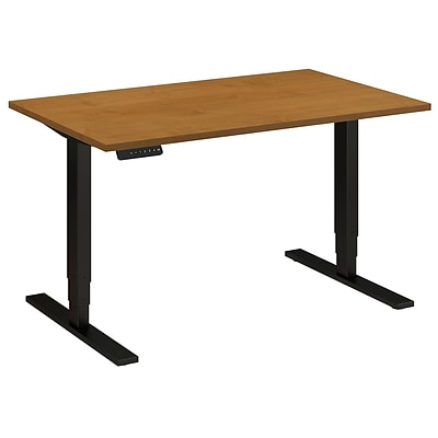 Bush Business 48W x 30D Height Adjustable Standing Desk, Natural Cherry with Black Base