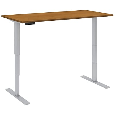 Bush Business 60W x 30D Height Adjustable Standing Desk, Natural Cherry with Cool Grey Metallic Base