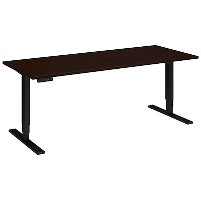 Bush Business 72W x 30D Height Adjustable Standing Desk, Mocha Cherry Satin w/ Black Base, Installed