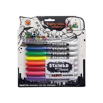 Sharpie® Stained Brush Tip Fabric Markers, Assorted Colors, 8/pk (1779005)