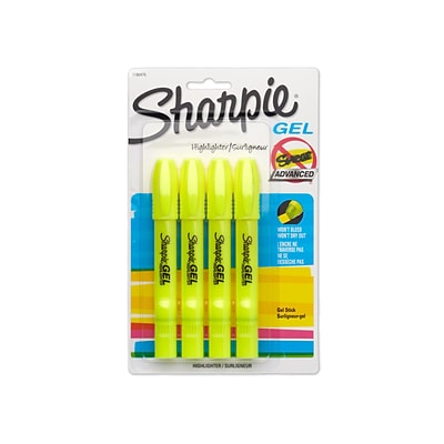 Sharpie® Gel Highlighters, Fluorescent Yellow , 4/pk (1780476)