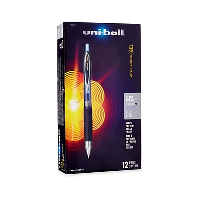 uni-ball® 207 RT Retractable Gel Pens, Ultra Micro Point 0.38 mm, Blue, 12/pk (1790923)