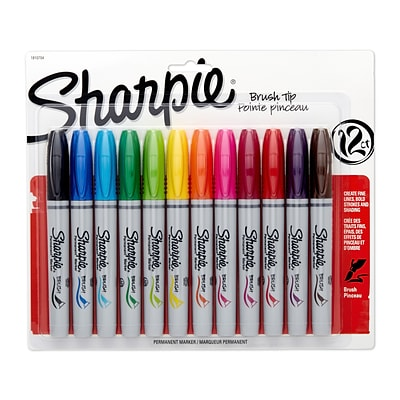 Sharpie® Permanent Marker, Brush Tip, Assorted Colors, 12/pk (1810704)
