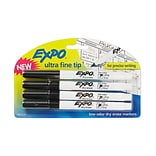 Expo® Low Odor Dry Erase Markers; Ultra Fine, Black, 4/Pk