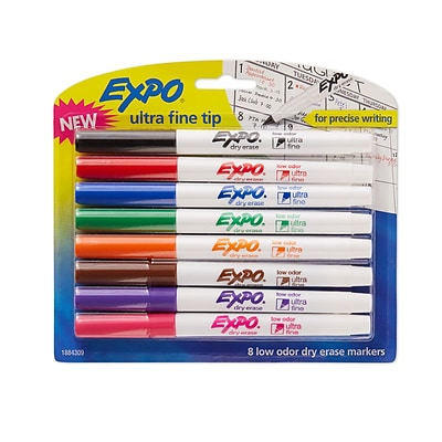 Expo® Low Odor Dry-Erase Markers, Ultra Fine Tip, Assorted Colors, 8/pk (1884309)