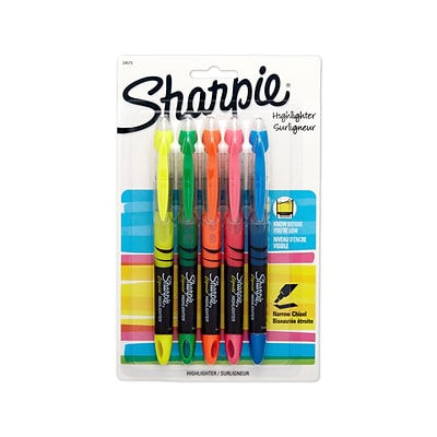 Sharpie® Liquid Accent® Highlighters, Assorted, 5/pk (24575PP)