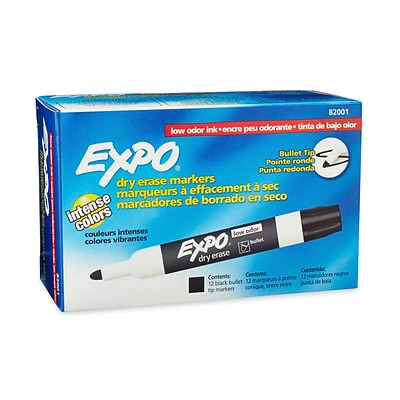 Expo® Low Odor Dry-Erase Markers, Bullet Tip, Black, Each (82001)