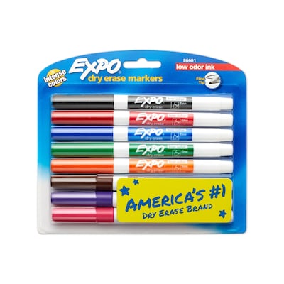 Expo® Low Odor Fine Tip Dry-Erase Markers, Assorted, 8/pk (86601)