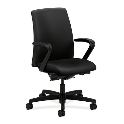 HON® Ignition® Low-Back Office/Computer Chair, Fixed Arms, Black Fabric