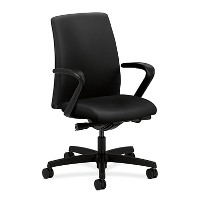 HON® Ignition® Low-Back Office/Computer Chair, Fixed Arms, Synchro-Tilt, Black Fabric