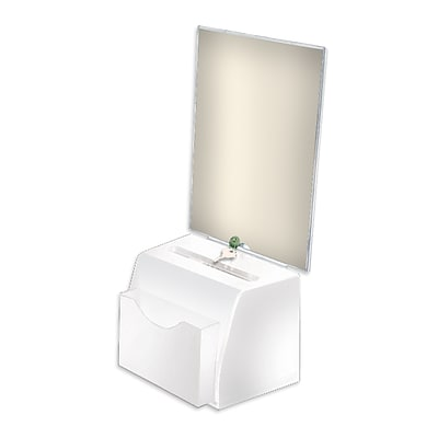 Azar® Small Molded Suggestion Box With Pocket, Lock and Key, White