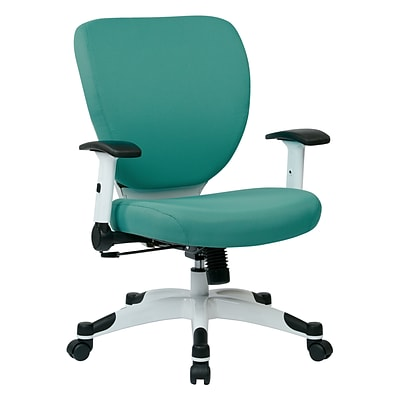 Office Star Space Seating Pulsar White Finish Frame Managers Chair, Dove Jade Fabric