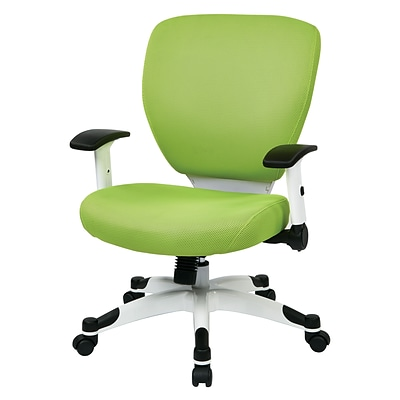 Office Star Space Seating Pulsar White Finish Frame Managers Chair, Green Fabric